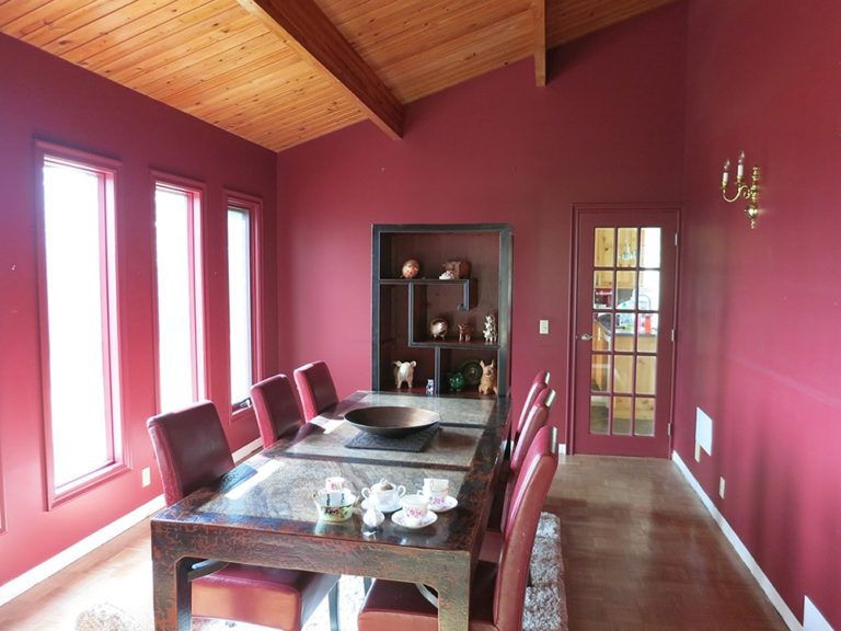 Interior dining room with pink walls