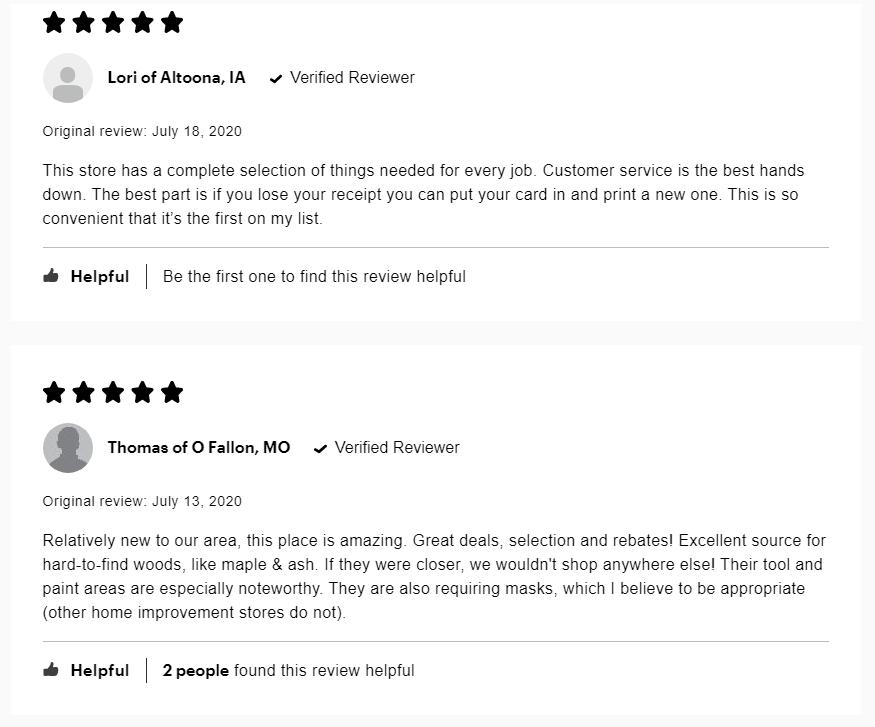 Menards reviews